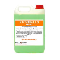 Tanica da 5 litri Brillo Matic detergente verde universale per uso industriale.
