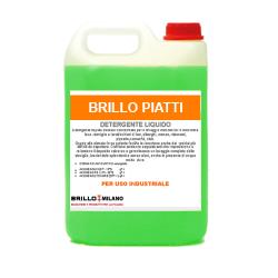 Tanica da 5 litri Brillo Piatti detergente verde universale liquido per uso industriale.