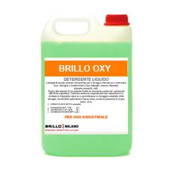 Tanica da 5 litri Brillo Oxy detergente verde universale liquido per uso industriale.